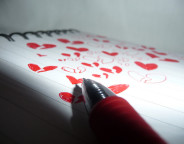 Red Love Hearts, Red Pen, Book